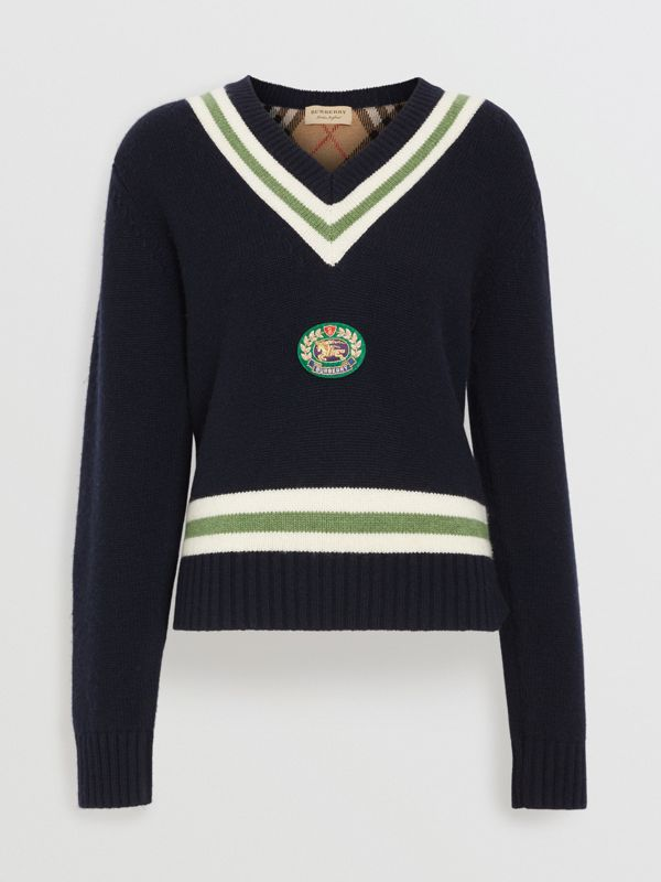 Embroidered Crest Wool Cashmere Sweater in Navy - Women | Burberry Canada - cell image 3