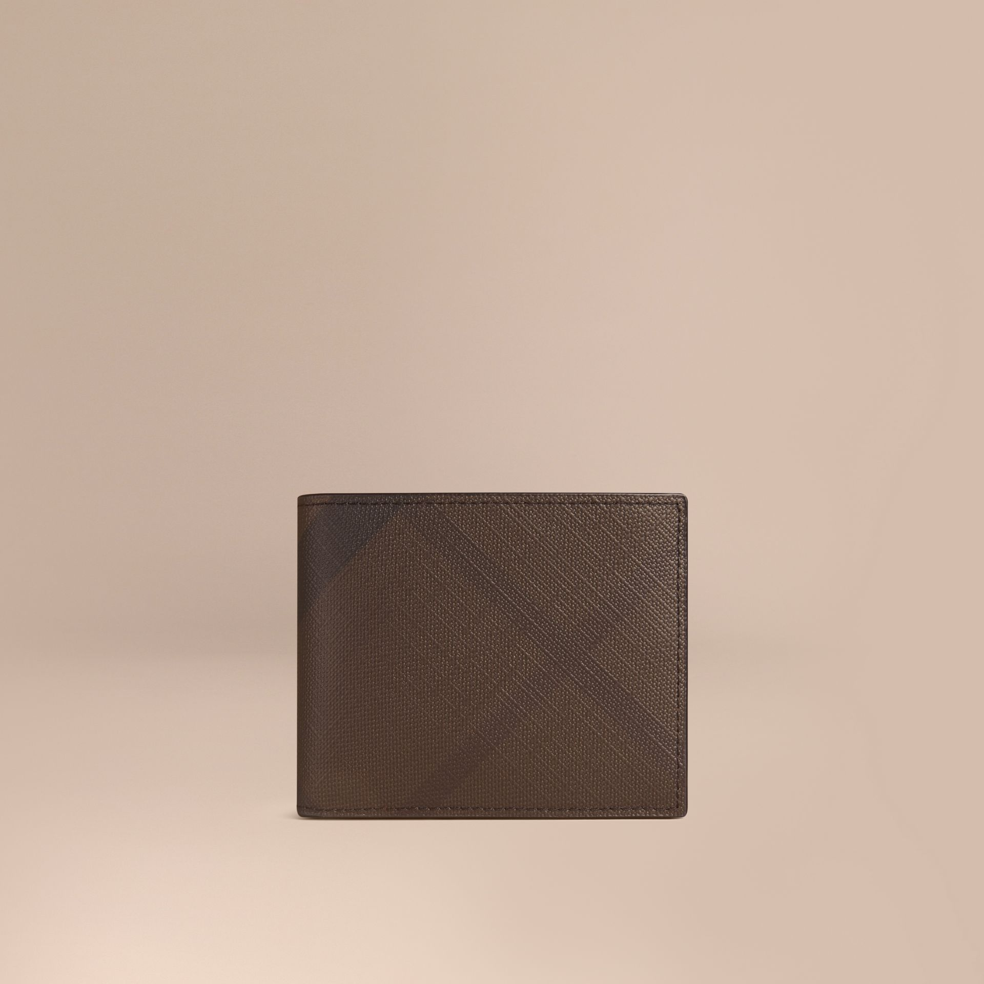London Check and Leather Bifold Wallet in Chocolate/black - gallery image 1