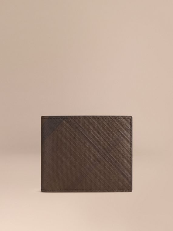 London Check and Leather Bifold Wallet in Chocolate/black - Men | Burberry