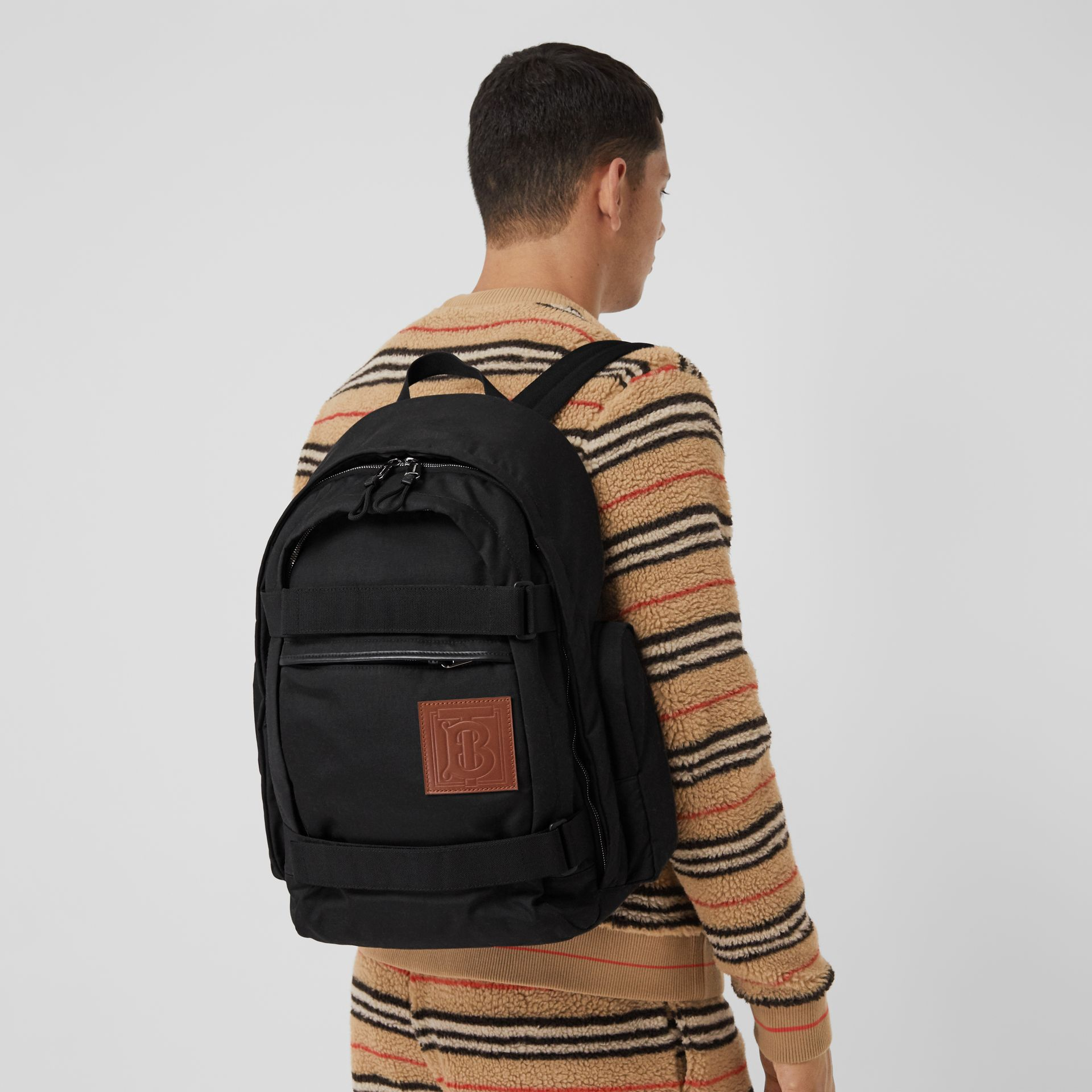 Large Monogram Motif Appliqué Nylon Nevis Backpack in Black | Burberry United Kingdom - gallery image 3