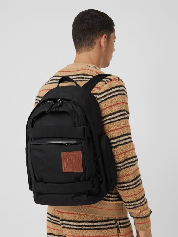 Large Monogram Motif Appliqué Nylon Nevis Backpack in Black | Burberry United Kingdom - cell image 3