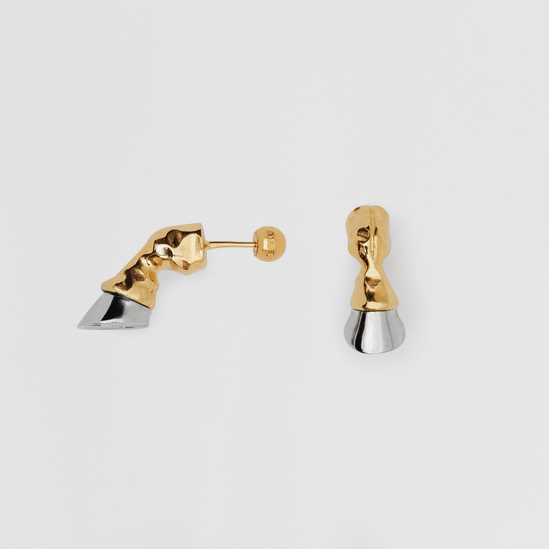 Gold and Palladium-plated Hoof Earrings in Palladio/light - Women | Burberry Singapore - gallery image 3