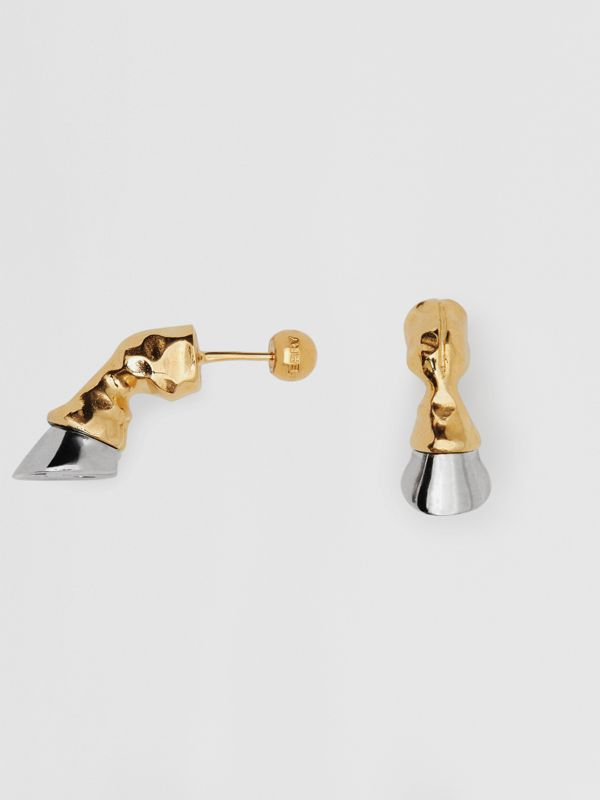 Gold and Palladium-plated Hoof Earrings in Palladio/light - Women | Burberry Singapore - cell image 3