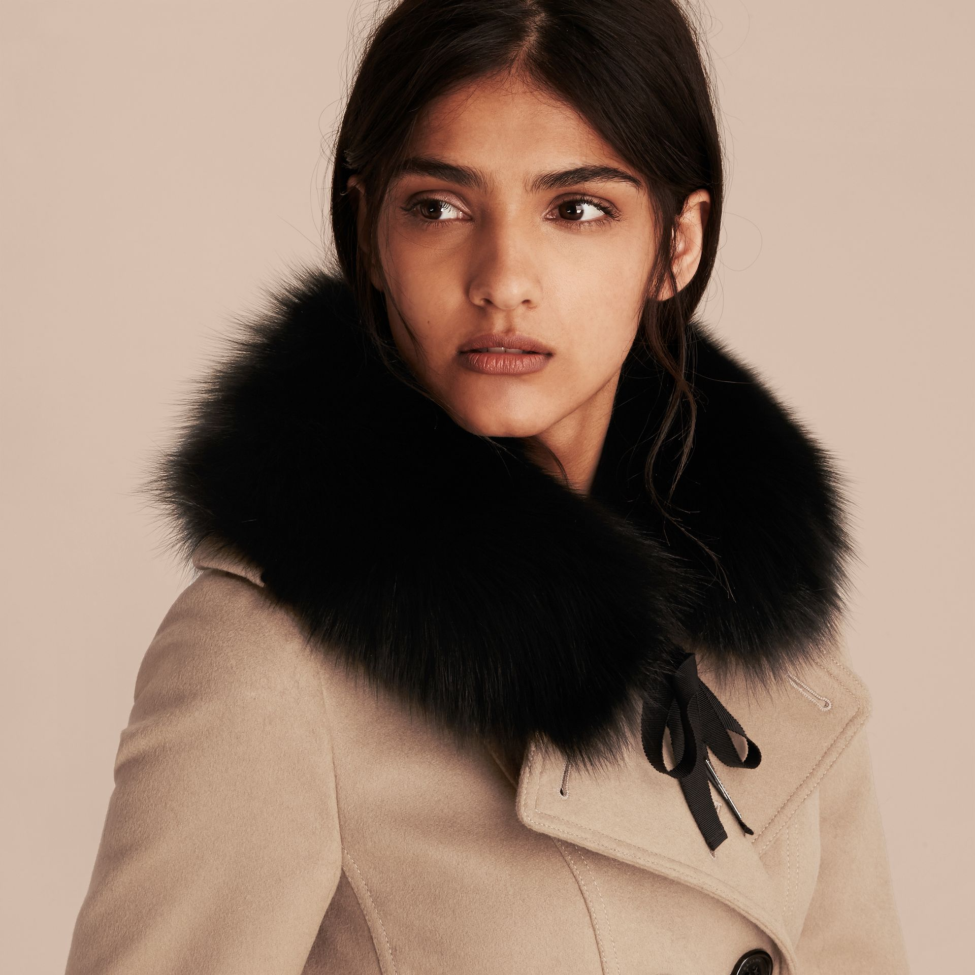 Fox Fur Collar with Check Cashmere Lining in Black/camel - Women | Burberry - gallery image 3