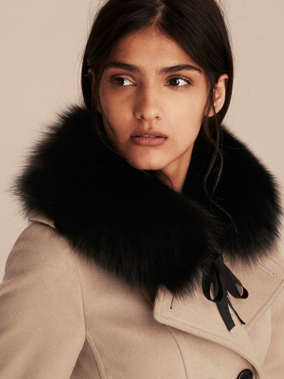 Fox Fur Collar with Check Cashmere Lining in Black/camel - Women | Burberry - cell image 2