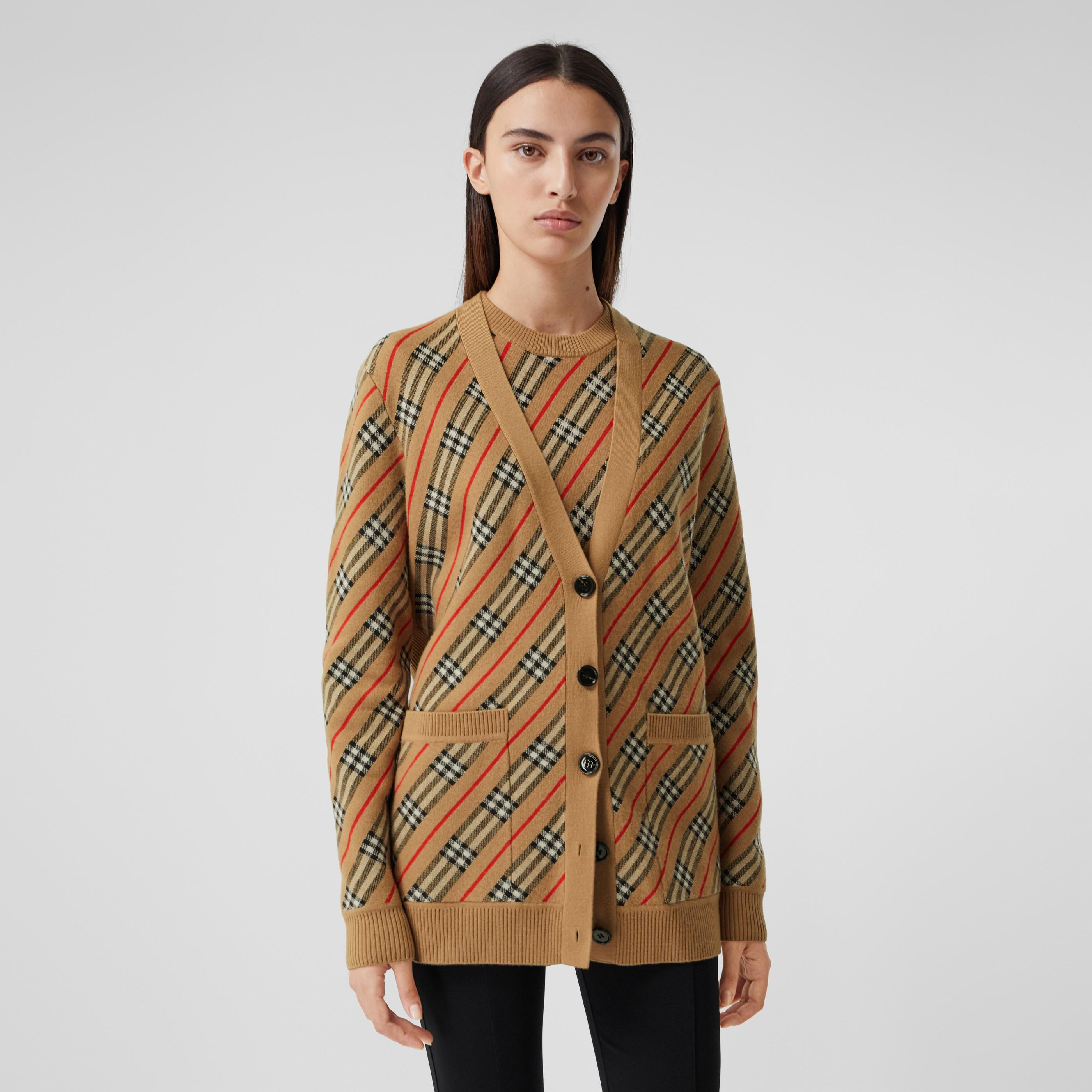 Cardigan in misto lana Merino con motivo a righe (Cammello) - Donna   Burberry - 4