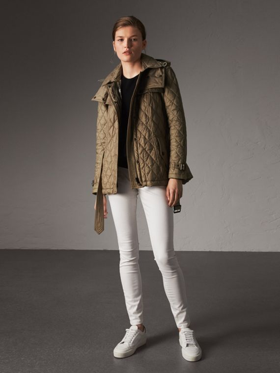Quilted Trench Jacket with Detachable Hood in Pale Fawn