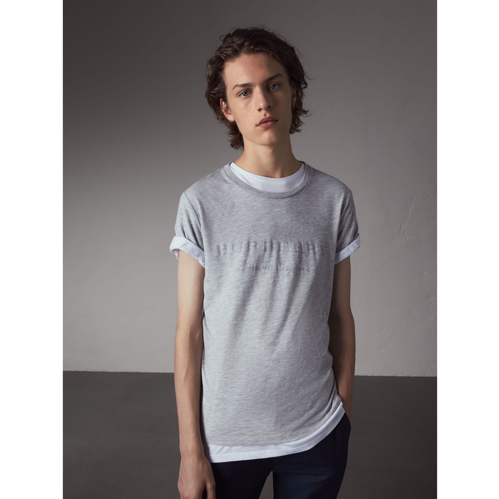 Devoré Cotton Jersey T-shirt in Pale Grey Melange - Men | Burberry - gallery image 1