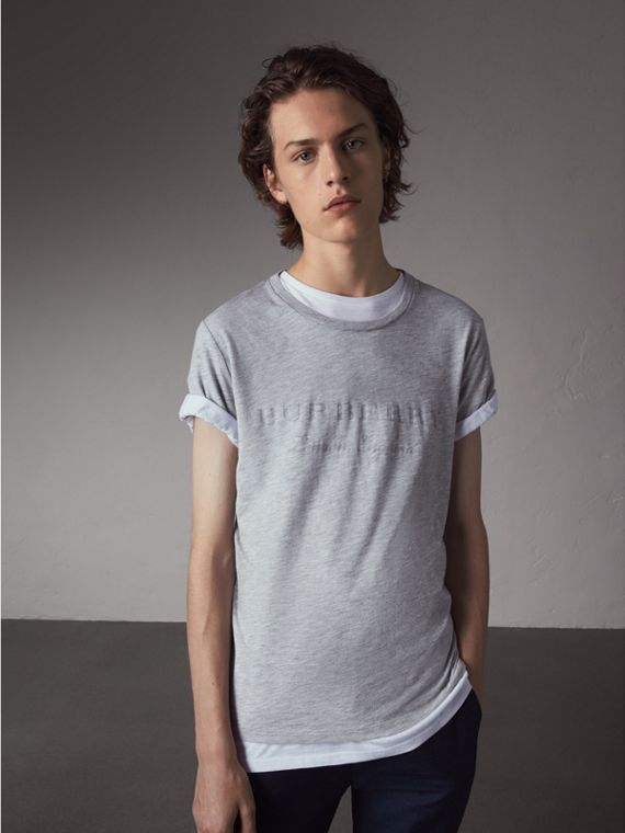 Devoré Cotton Jersey T-shirt in Pale Grey Melange - Men | Burberry