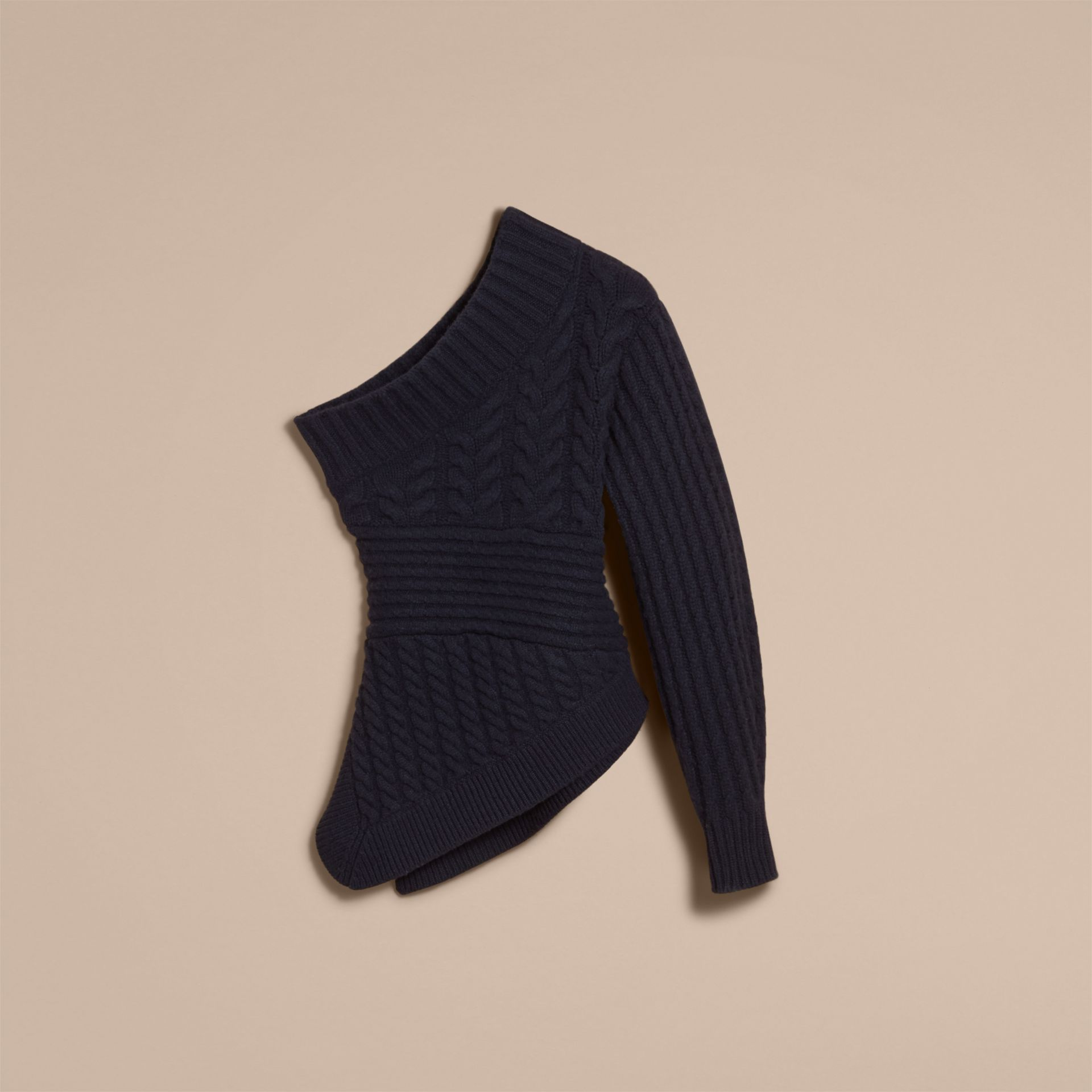 One-shoulder Cable Knit Cashmere Sweater - Women | Burberry Australia - gallery image 4