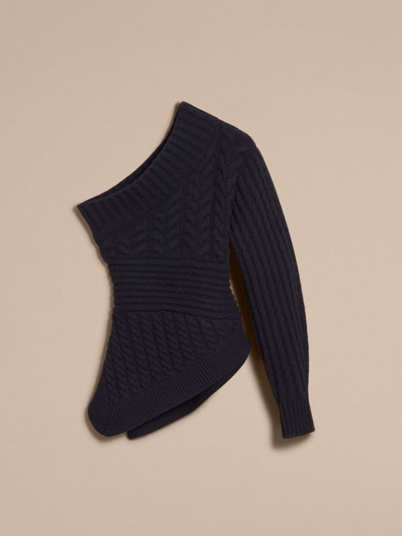 One-shoulder Cable Knit Cashmere Sweater in Navy - Women | Burberry - cell image 3