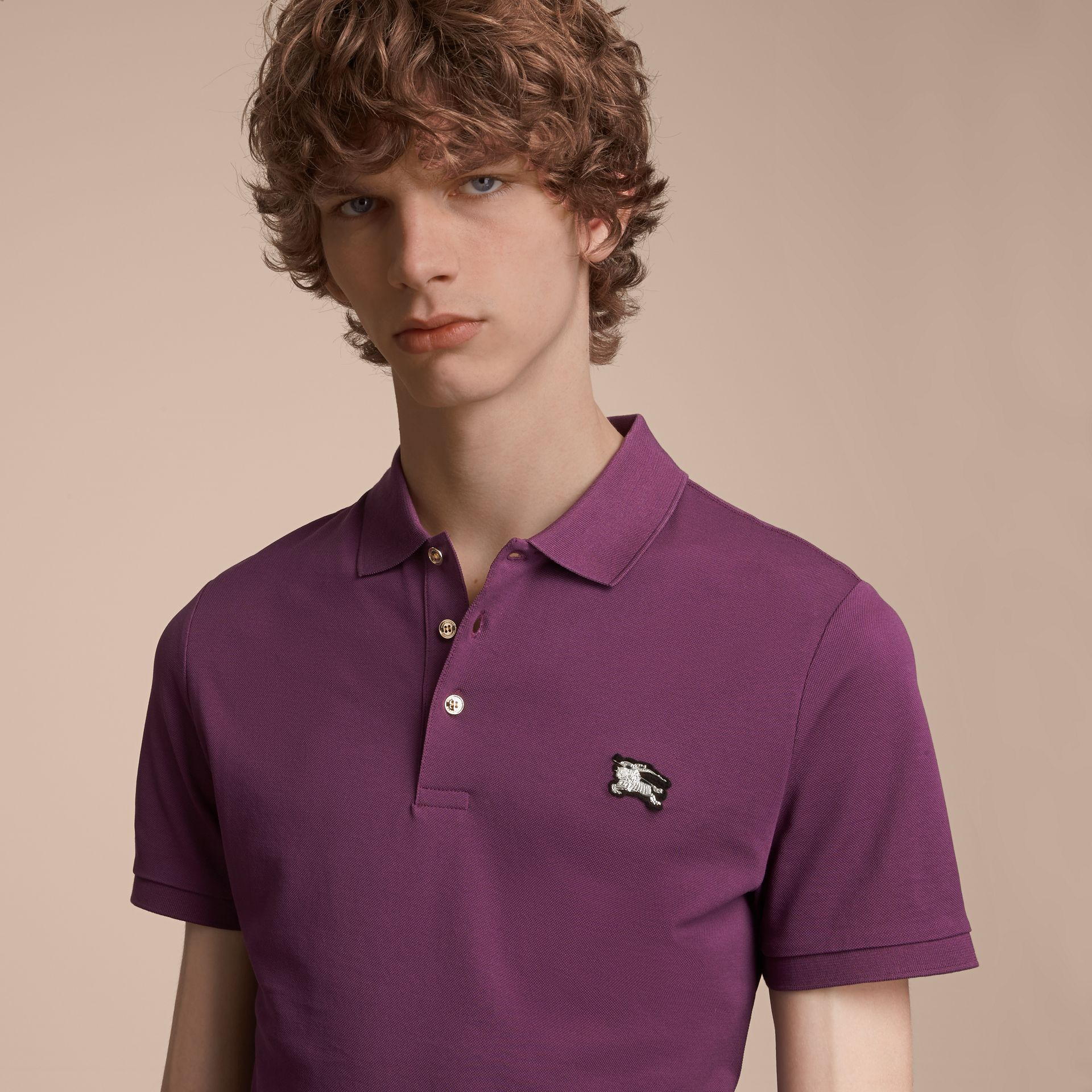 Cotton Piqué Polo Shirt in Heather - Men | Burberry - gallery image 5
