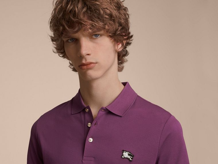 Cotton Piqué Polo Shirt in Heather - Men | Burberry - cell image 4