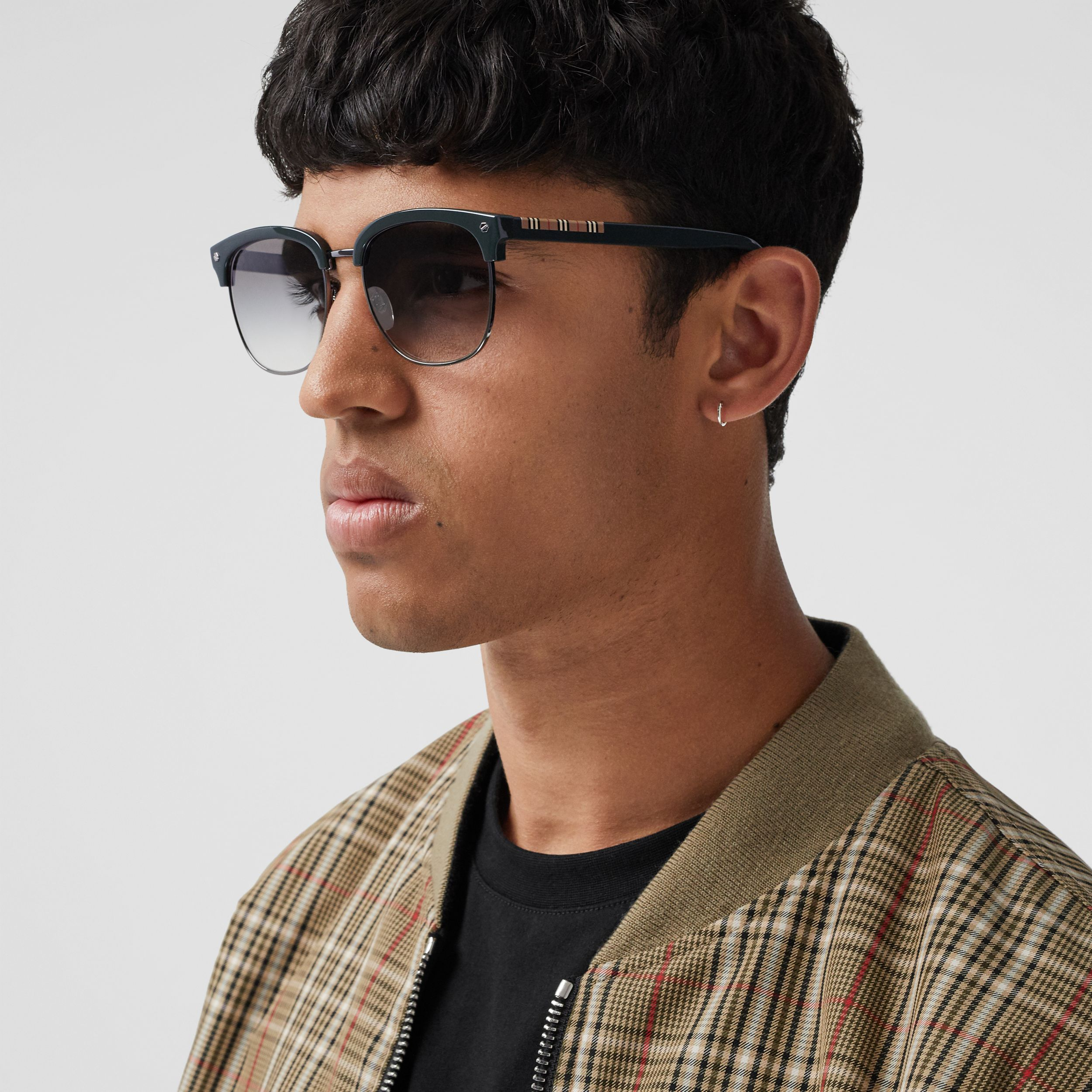 Icon Stripe Detail Square Frame Sunglasses in Military Green - Men | Burberry - 3