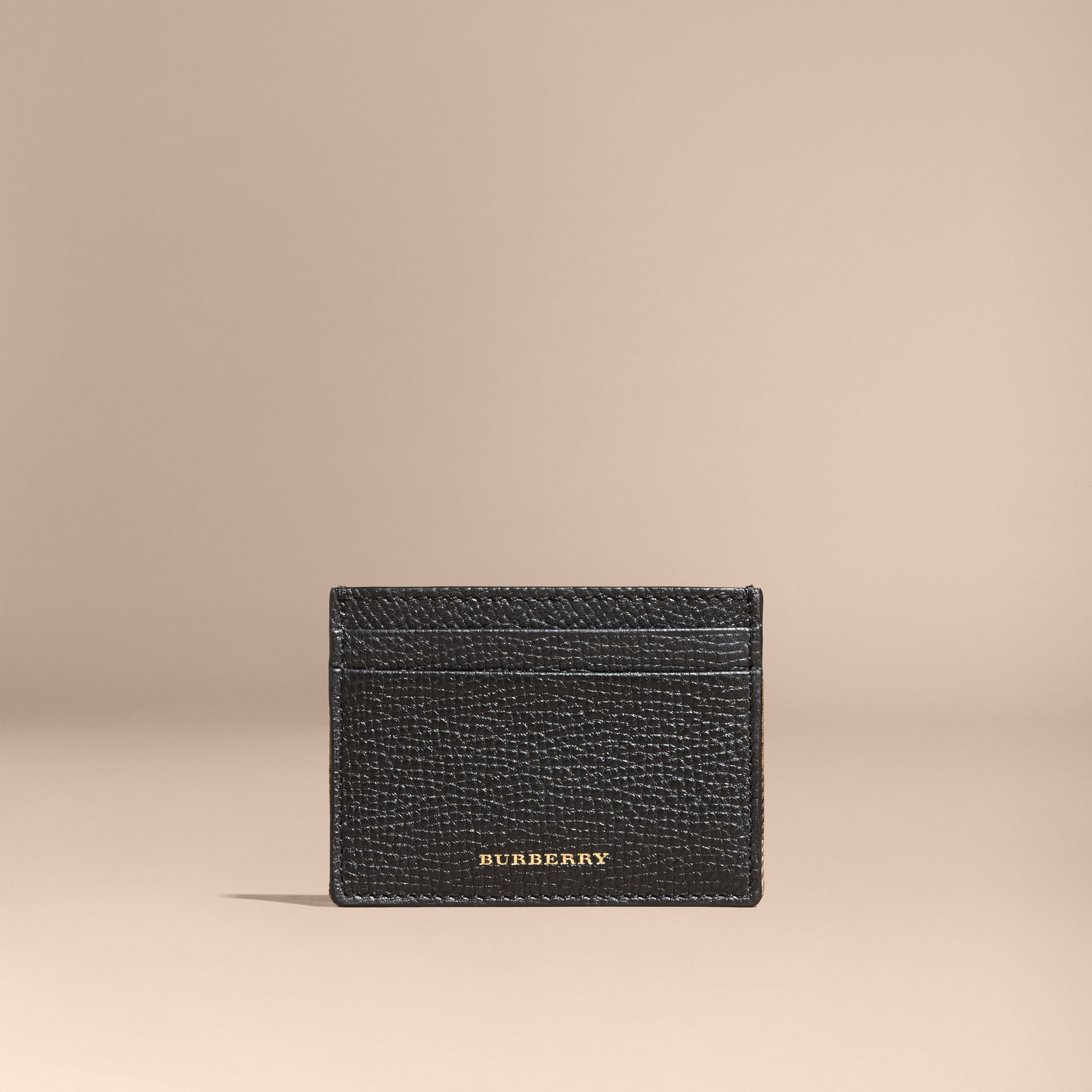 House Check and Grainy Leather Card Case in Black | Burberry - gallery image 6