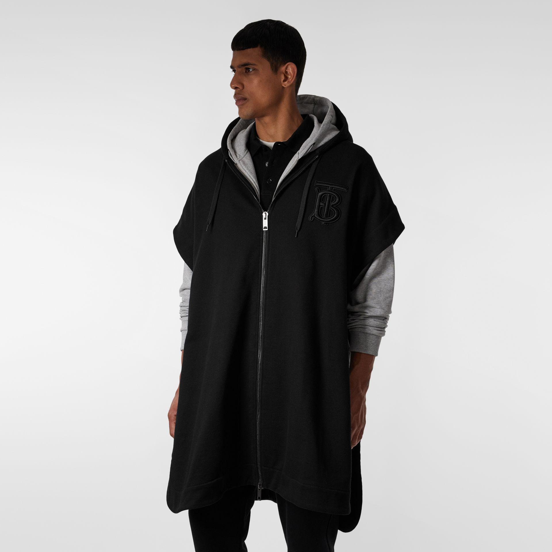 Monogram Motif Cotton Oversized Hooded Poncho in Black | Burberry - gallery image 2