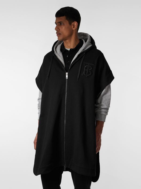 Monogram Motif Cotton Oversized Hooded Poncho in Black | Burberry - cell image 2