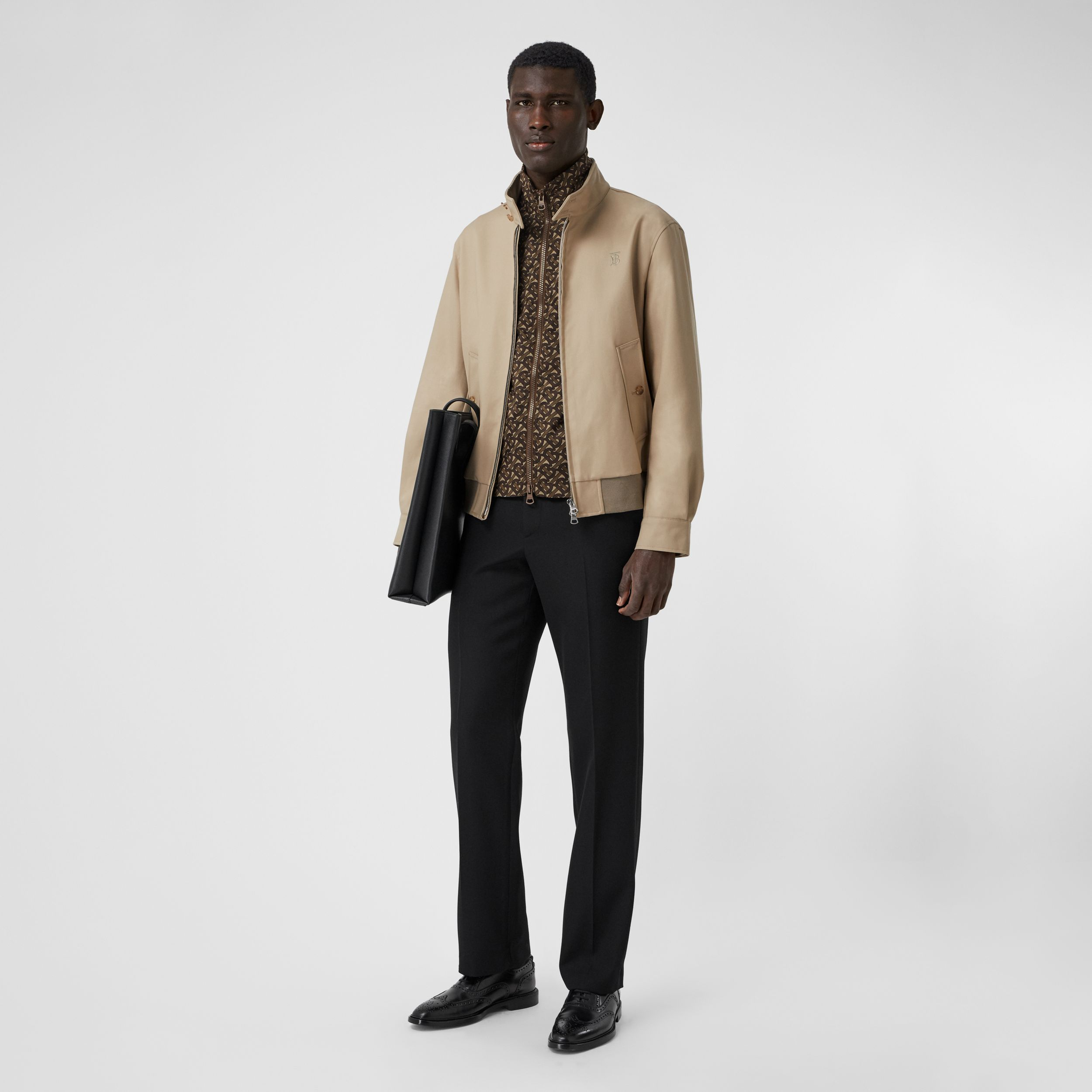 Cotton Harrington Jacket with Detachable Warmer in Honey - Men | Burberry - 1