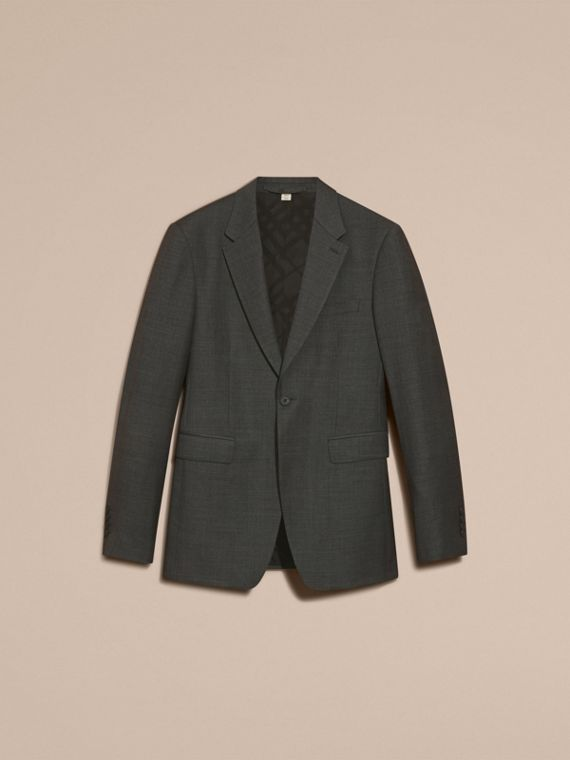 Modern Fit Travel Tailoring Virgin Wool Suit in Dark Grey Melange - Men | Burberry - cell image 3