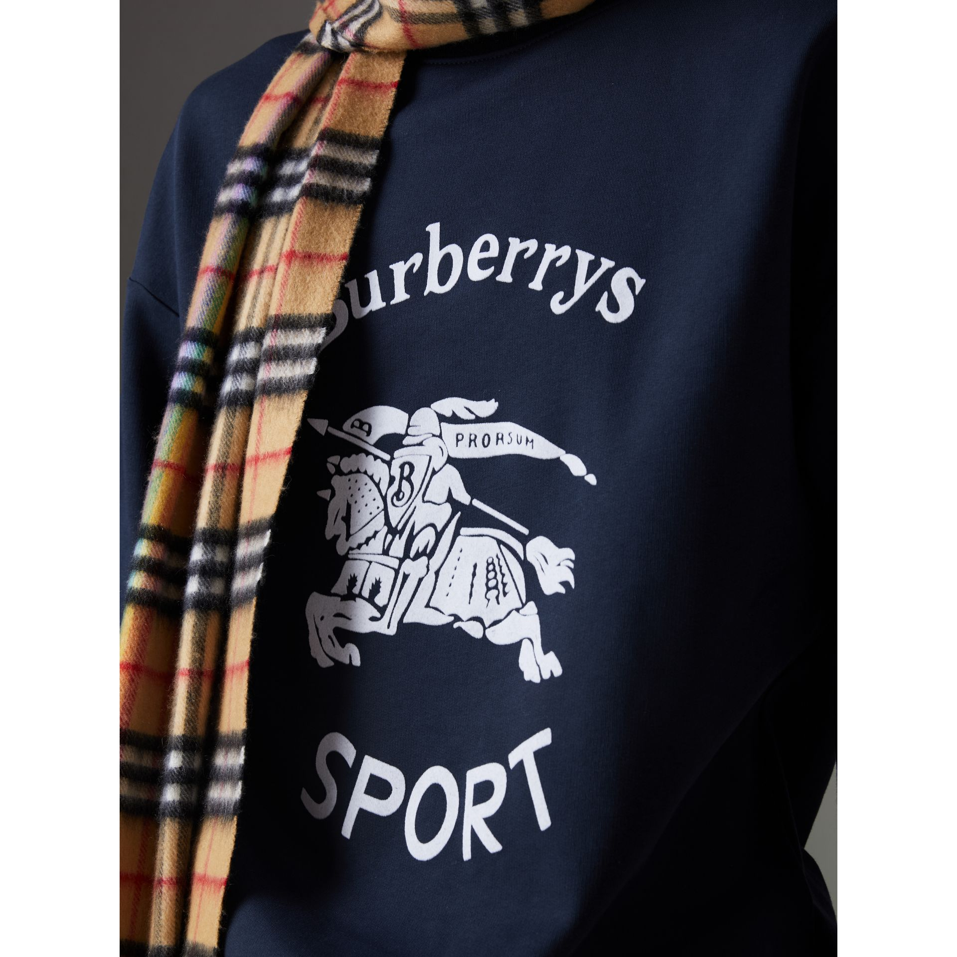 Reissued Jersey Sweatshirt in Navy Blue - Men | Burberry - gallery image 1