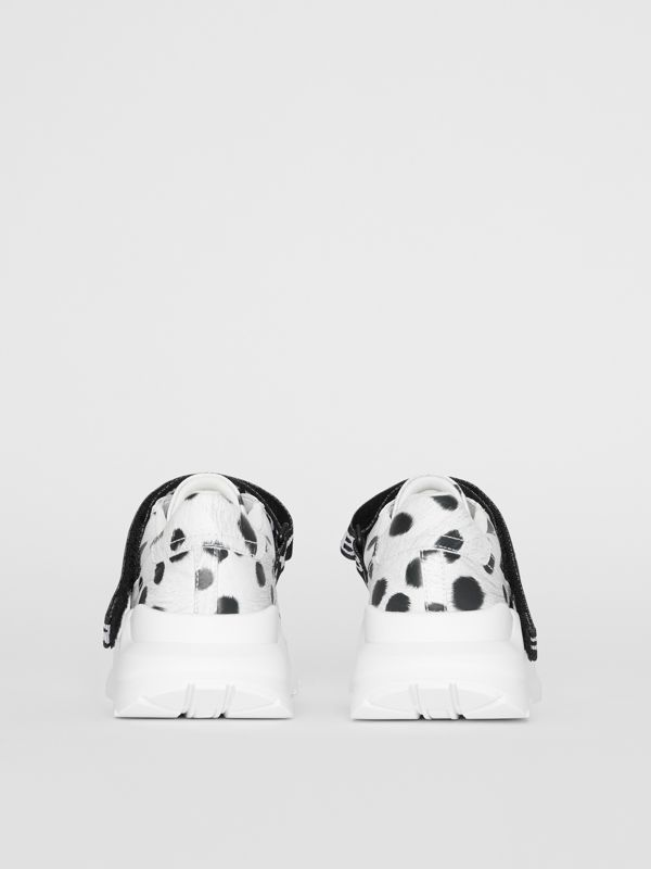 Animal Print Leather Sneakers in Off White - Women | Burberry United Kingdom - cell image 3
