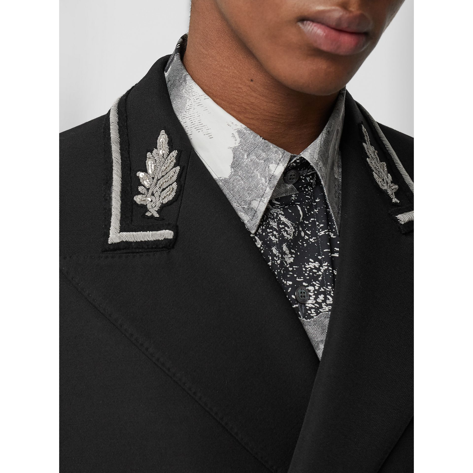 Slim Fit Bullion Wool Double-breasted Jacket in Black - Men | Burberry Canada - gallery image 1