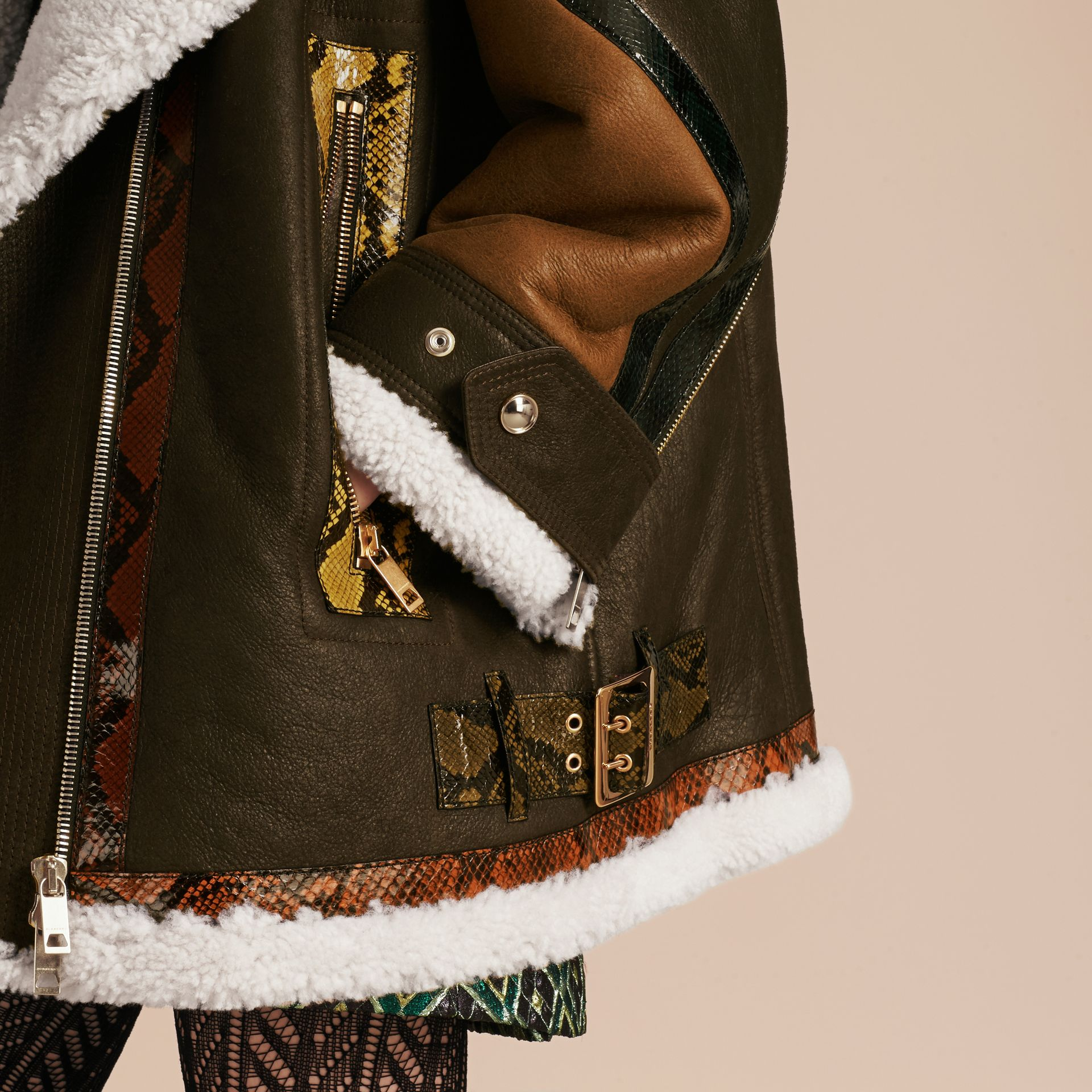 Dark brown/white Shearling Aviator with Snakeskin Panels - gallery image 6