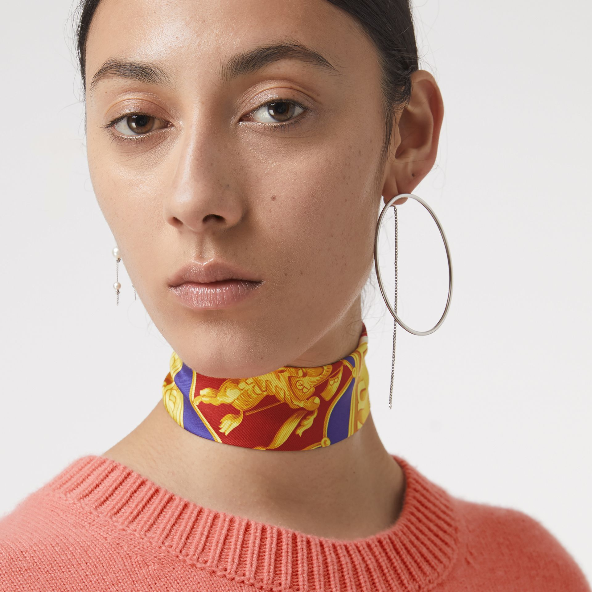 Archive Scarf Print Silk Skinny Scarf in Multicolour | Burberry - gallery image 3