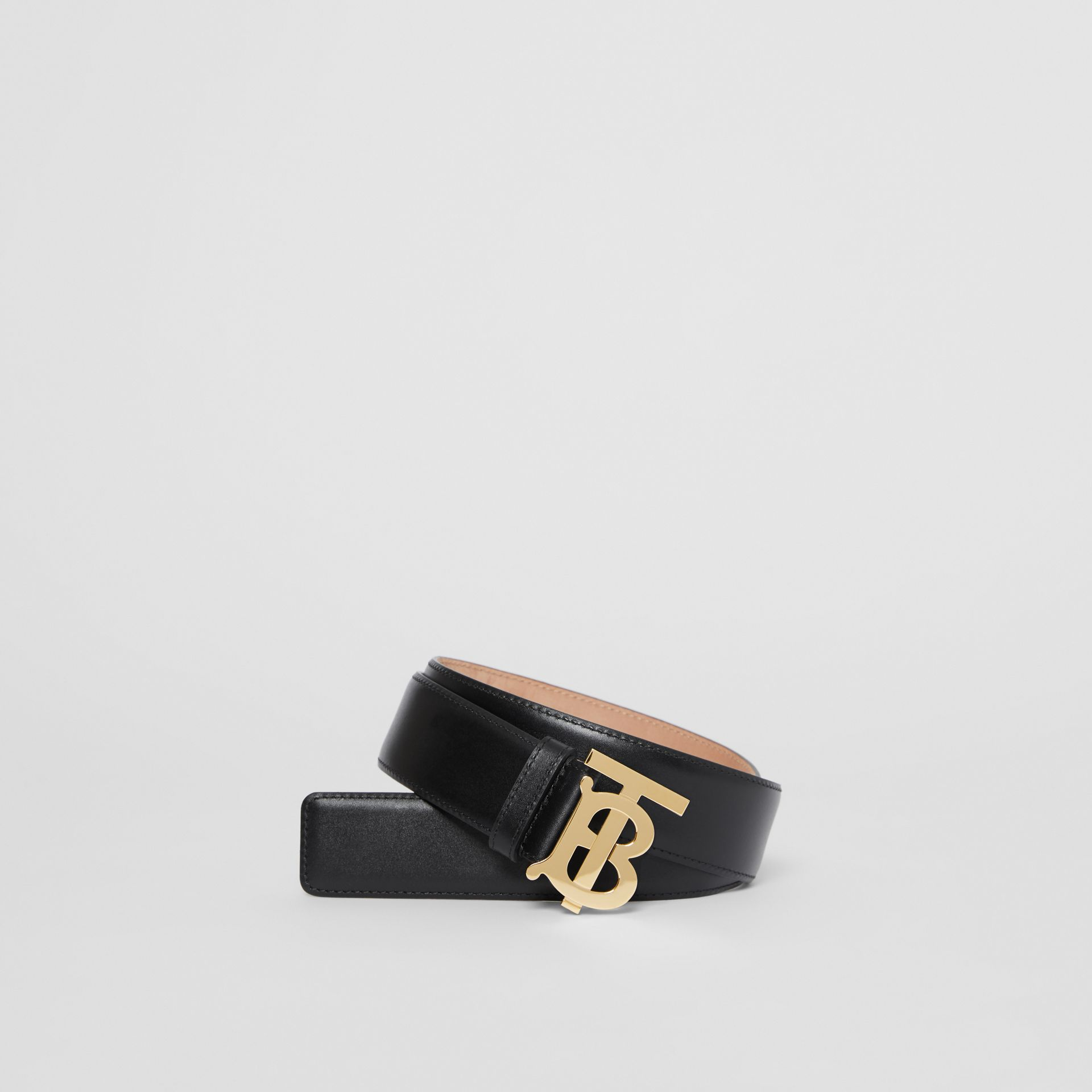 Monogram Motif Leather Belt in Black - Women | Burberry - gallery image 0