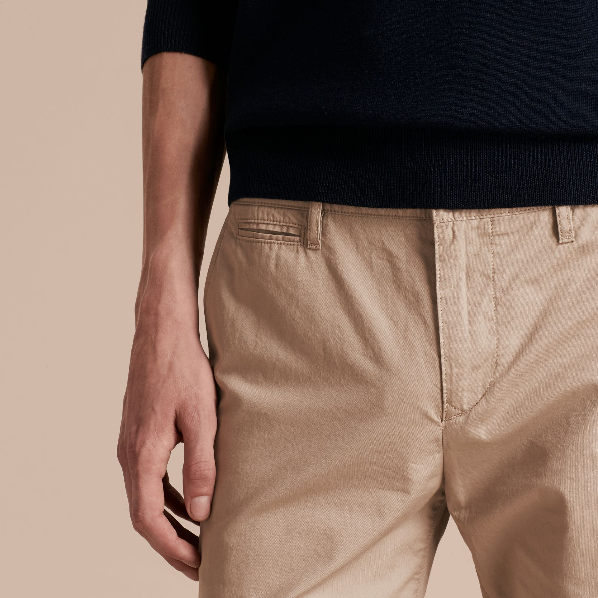 Slim Fit Cotton Chinos in Taupe - Men | Burberry - gallery image 5