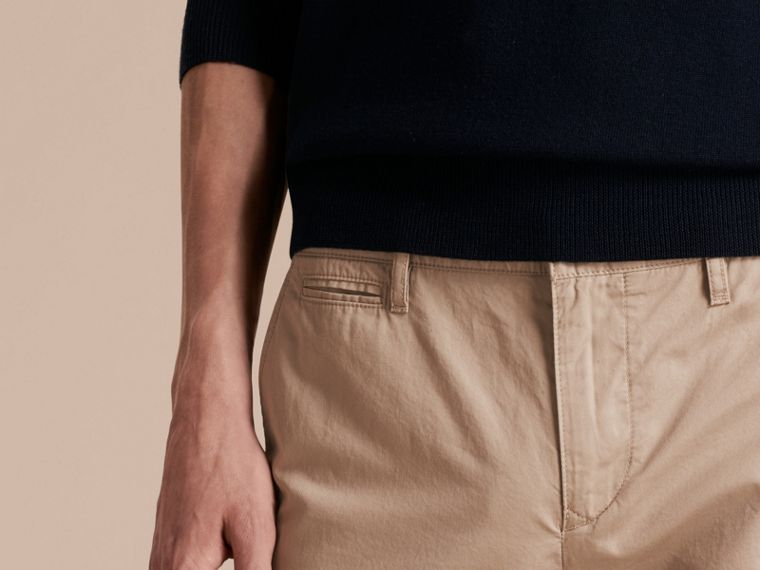 Slim Fit Cotton Chinos in Taupe - Men | Burberry - cell image 4