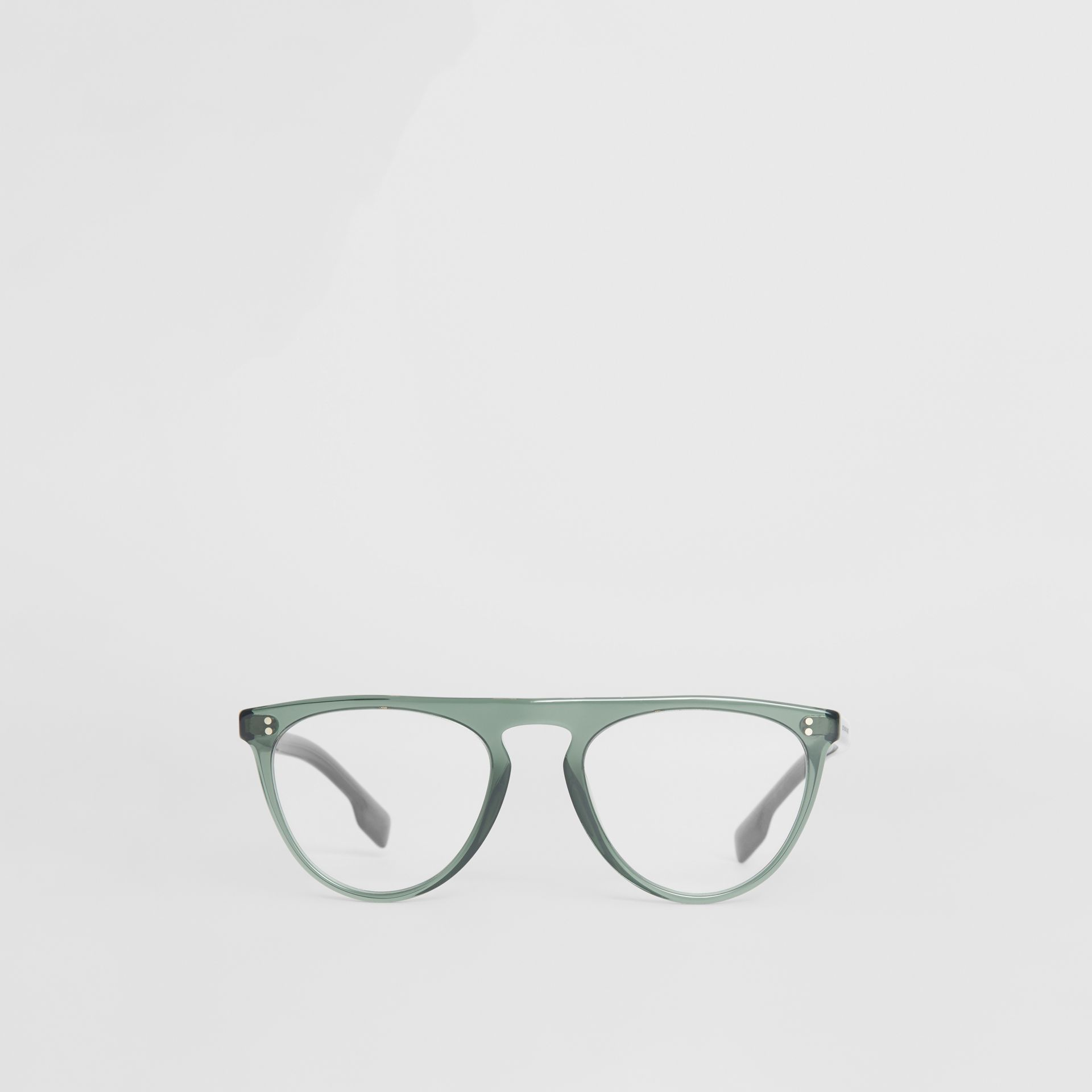 Keyhole D-shaped Optical Frames in Green - Men | Burberry - gallery image 0