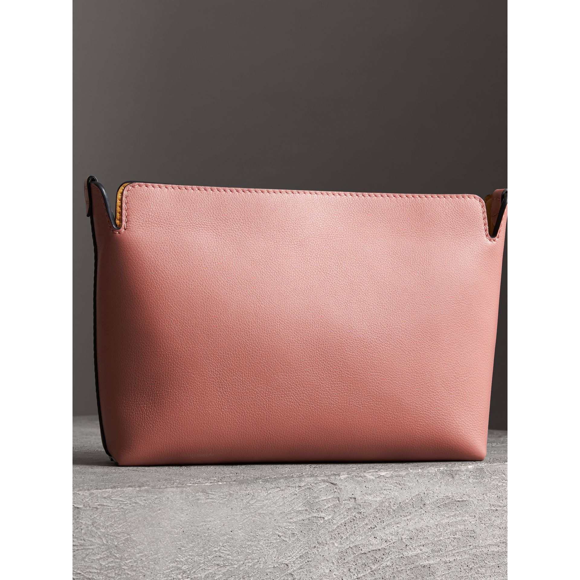 Medium Tri-tone Leather Clutch in Deep Claret/dusty Rose | Burberry - gallery image 4