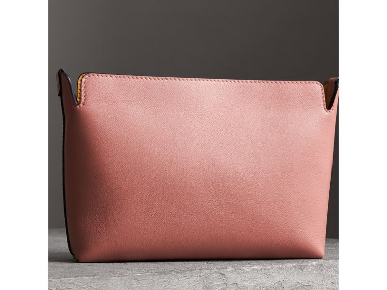 Medium Tri-tone Leather Clutch in Deep Claret/dusty Rose - Women | Burberry - cell image 4