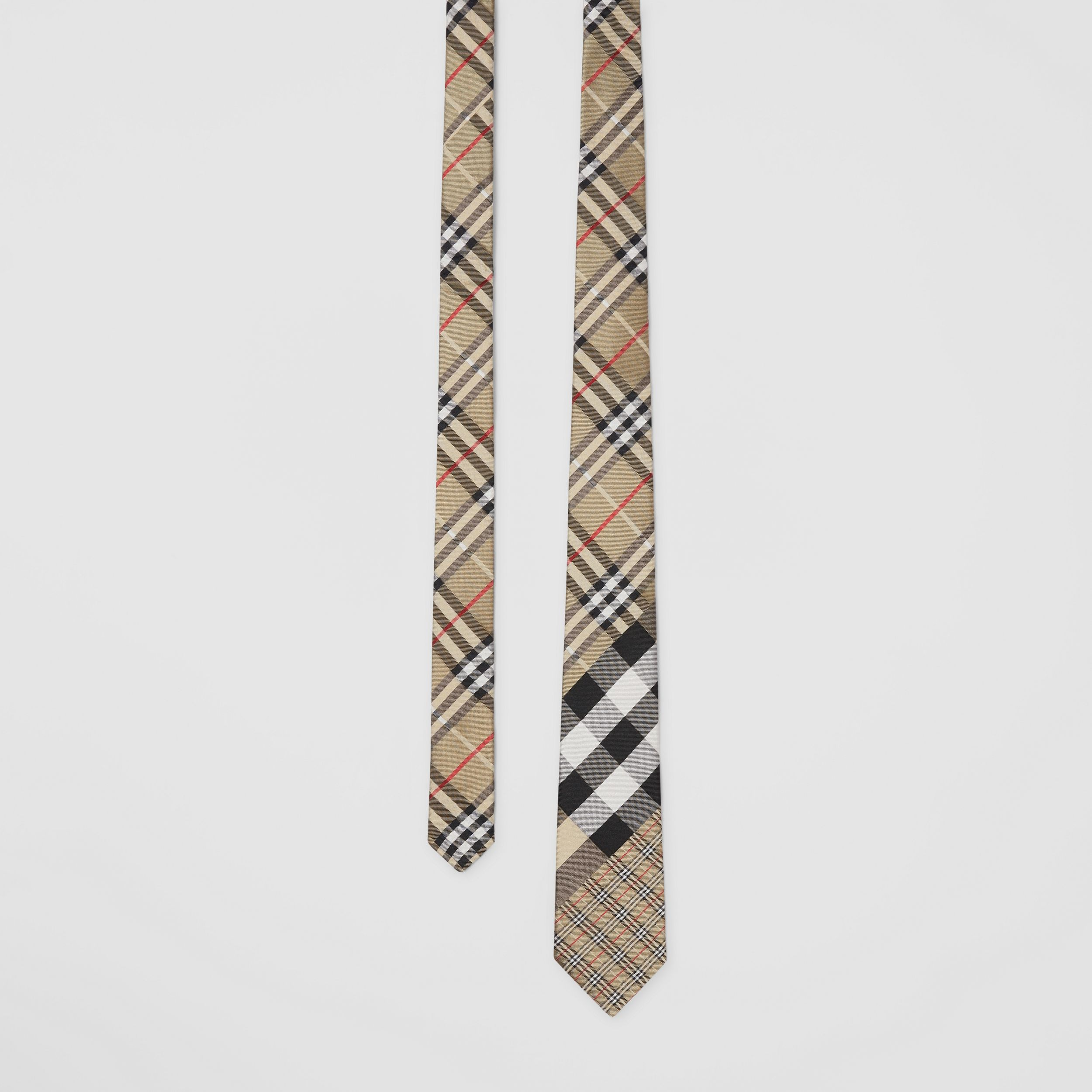 Classic Cut Check Silk Jacquard Tie in Archive Beige - Men | Burberry - 1