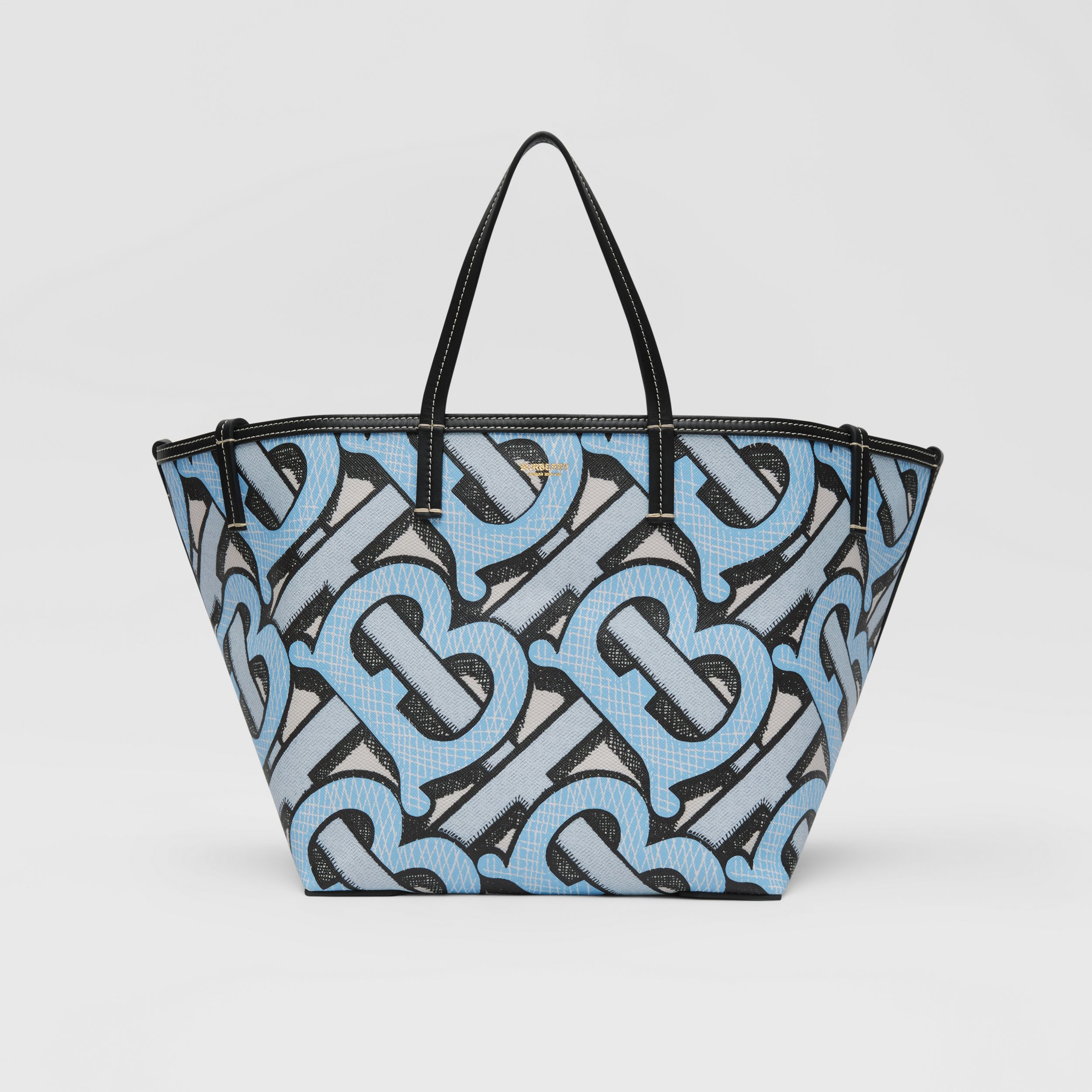 Mini Monogram Print E-canvas Beach Tote in Pale Azure | Burberry - 1
