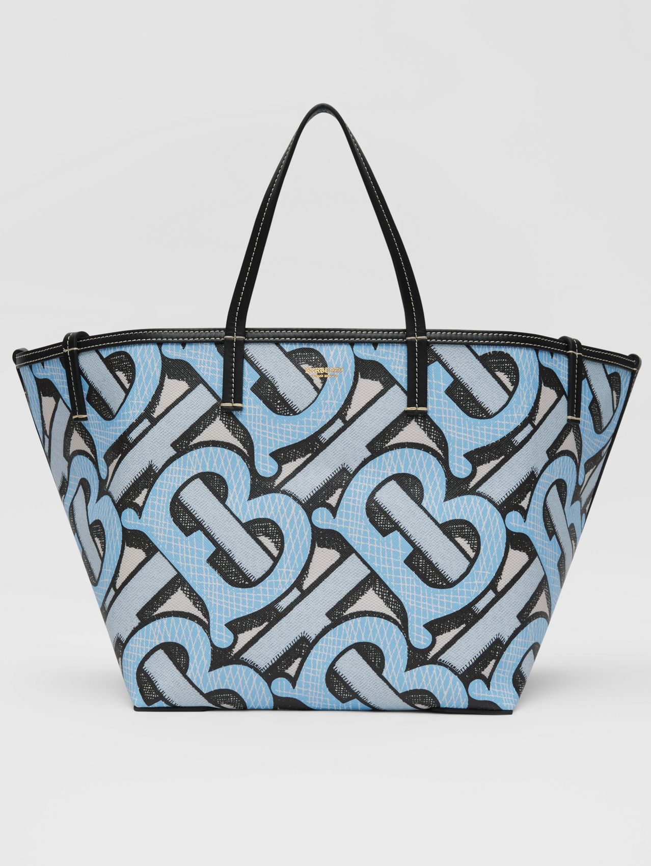 Mini Monogram Print E-canvas Beach Tote (Pale Azure)