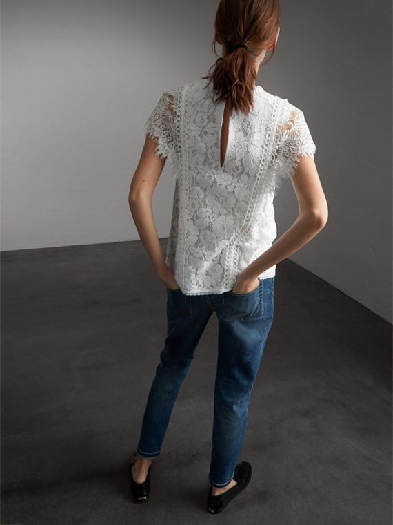 Scalloped Cap Sleeve Floral Lace Top - Women | Burberry - cell image 2