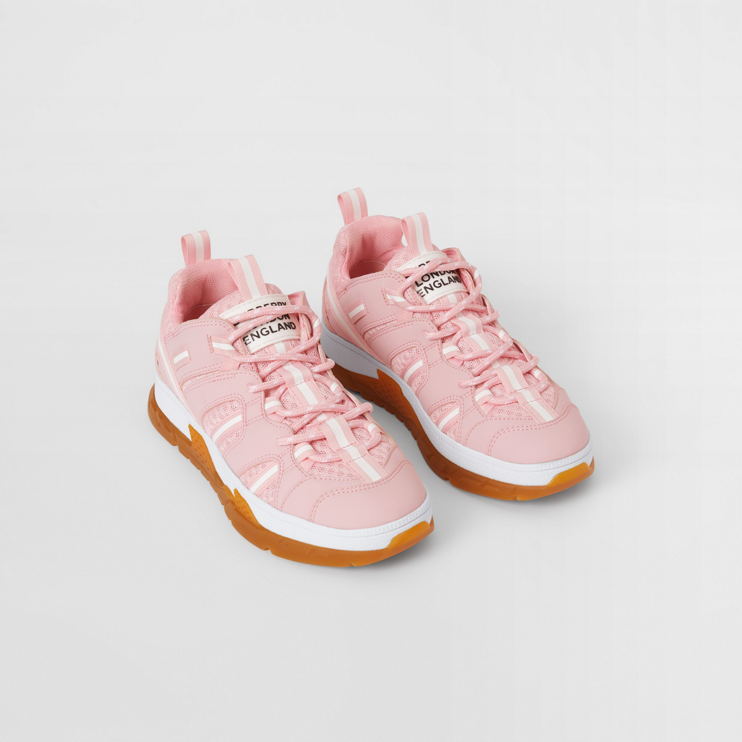 Nylon and Mesh Union Sneakers in Candy Pink - Children | Burberry - 1