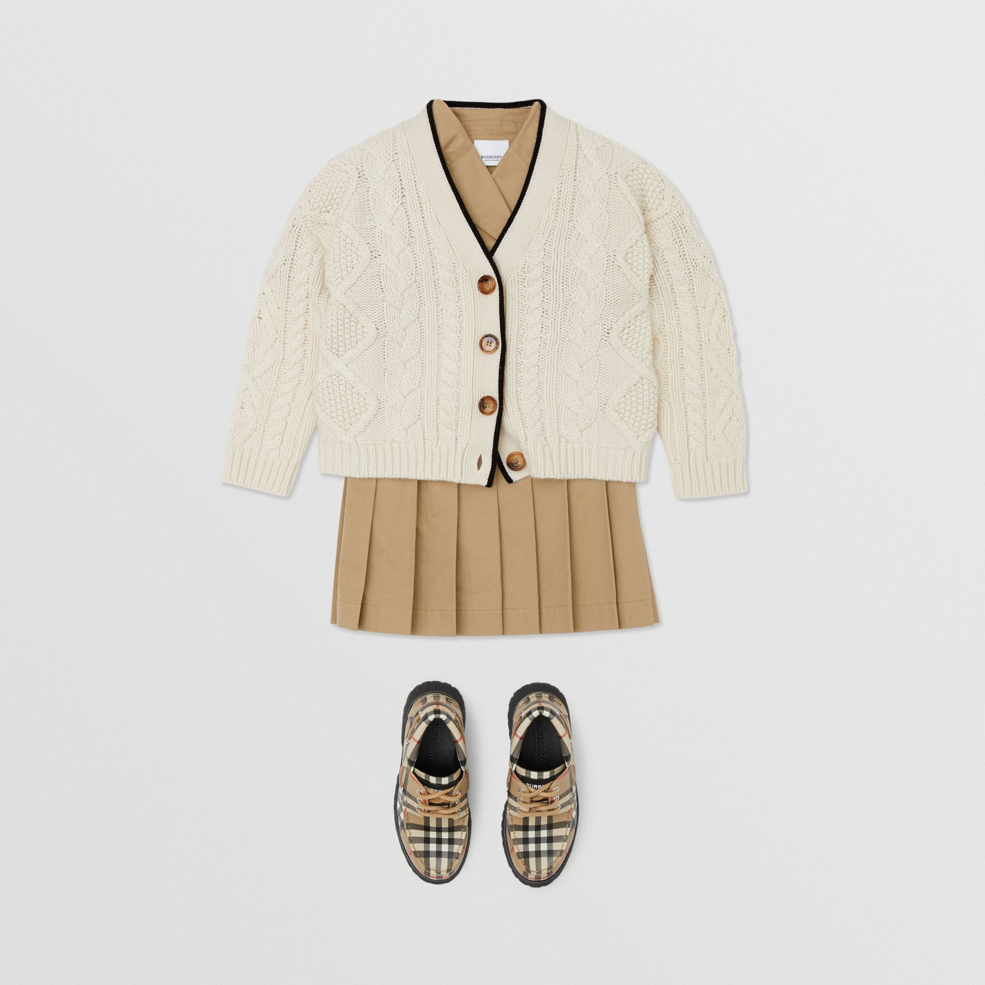 Logo Panel Cable Knit Wool Cashmere Cardigan in Ivory | Burberry - gallery image 2