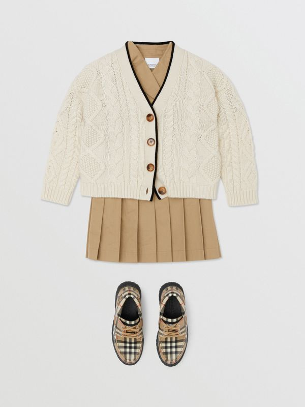 Logo Panel Cable Knit Wool Cashmere Cardigan in Ivory | Burberry - cell image 2