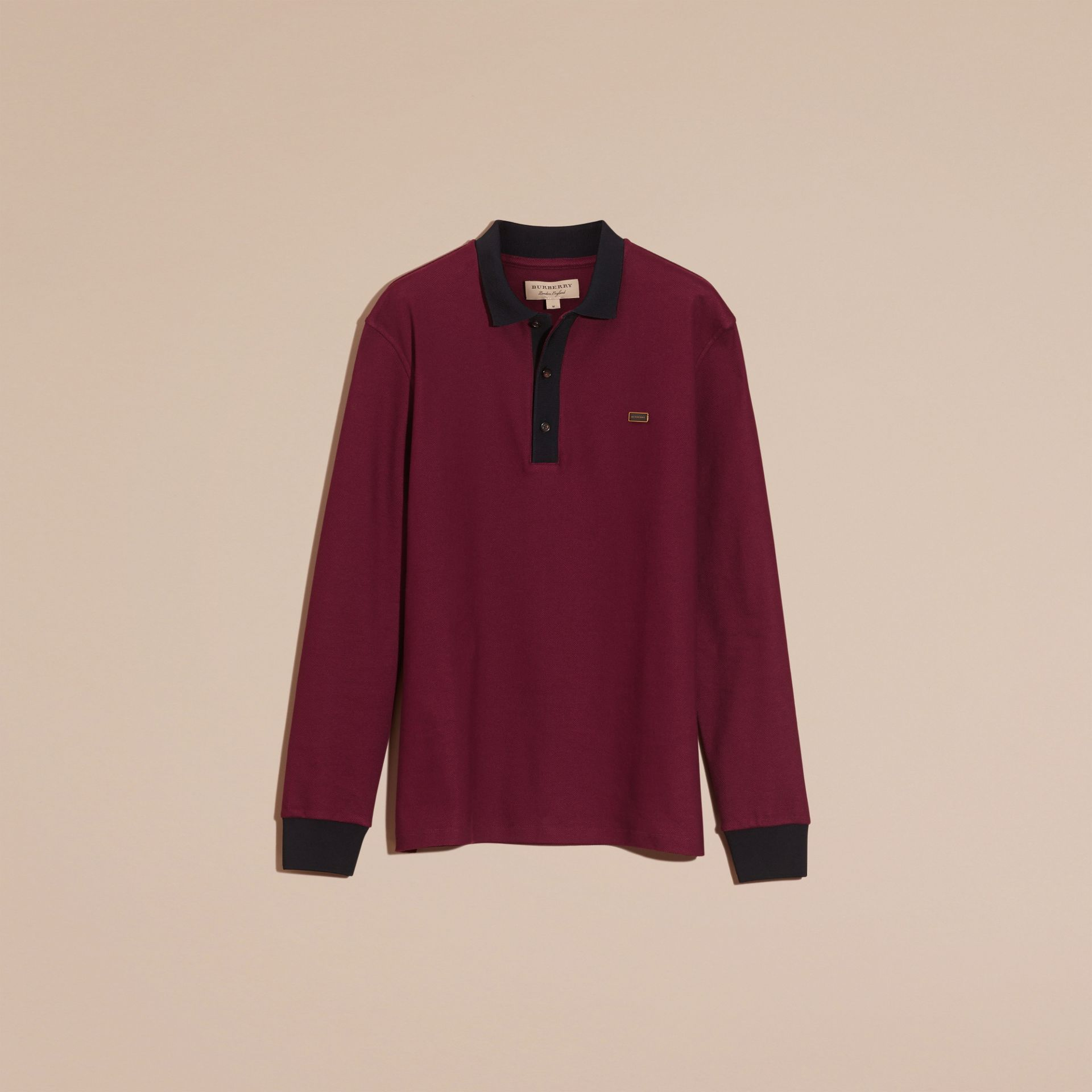 Boysenberry/navy Long-sleeved Cotton Piqué Polo Shirt Boysenberry/navy - gallery image 4