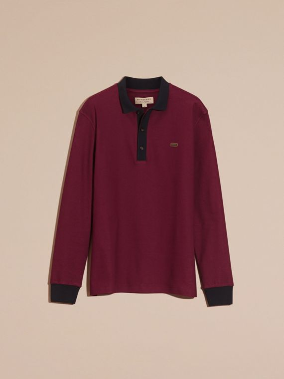 Boysenberry/navy Long-sleeved Cotton Piqué Polo Shirt Boysenberry/navy - cell image 3