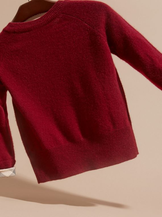 Mahogany red Check Cuff Cashmere Sweater Mahogany Red - cell image 3