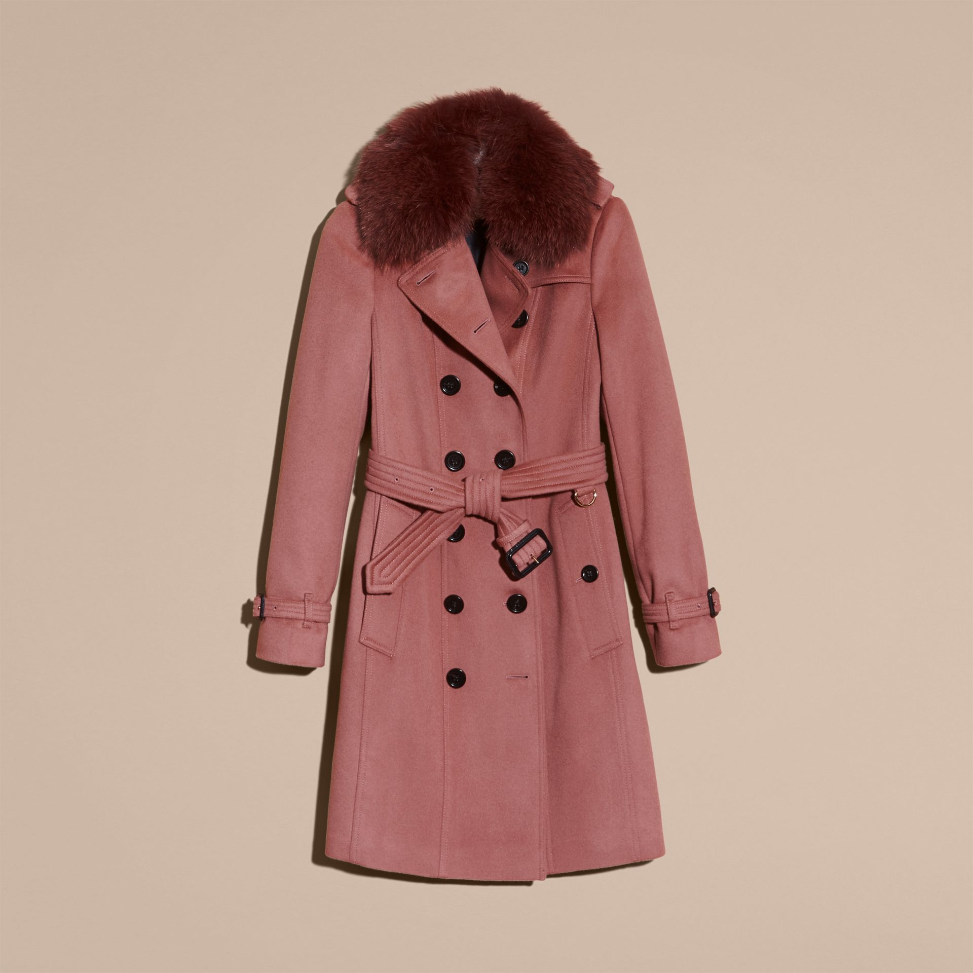 Antique rose Wool Cashmere Trench Coat with Detachable Fur Collar - gallery image 4