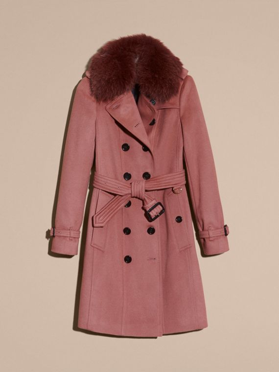 Antique rose Wool Cashmere Trench Coat with Detachable Fur Collar - cell image 3