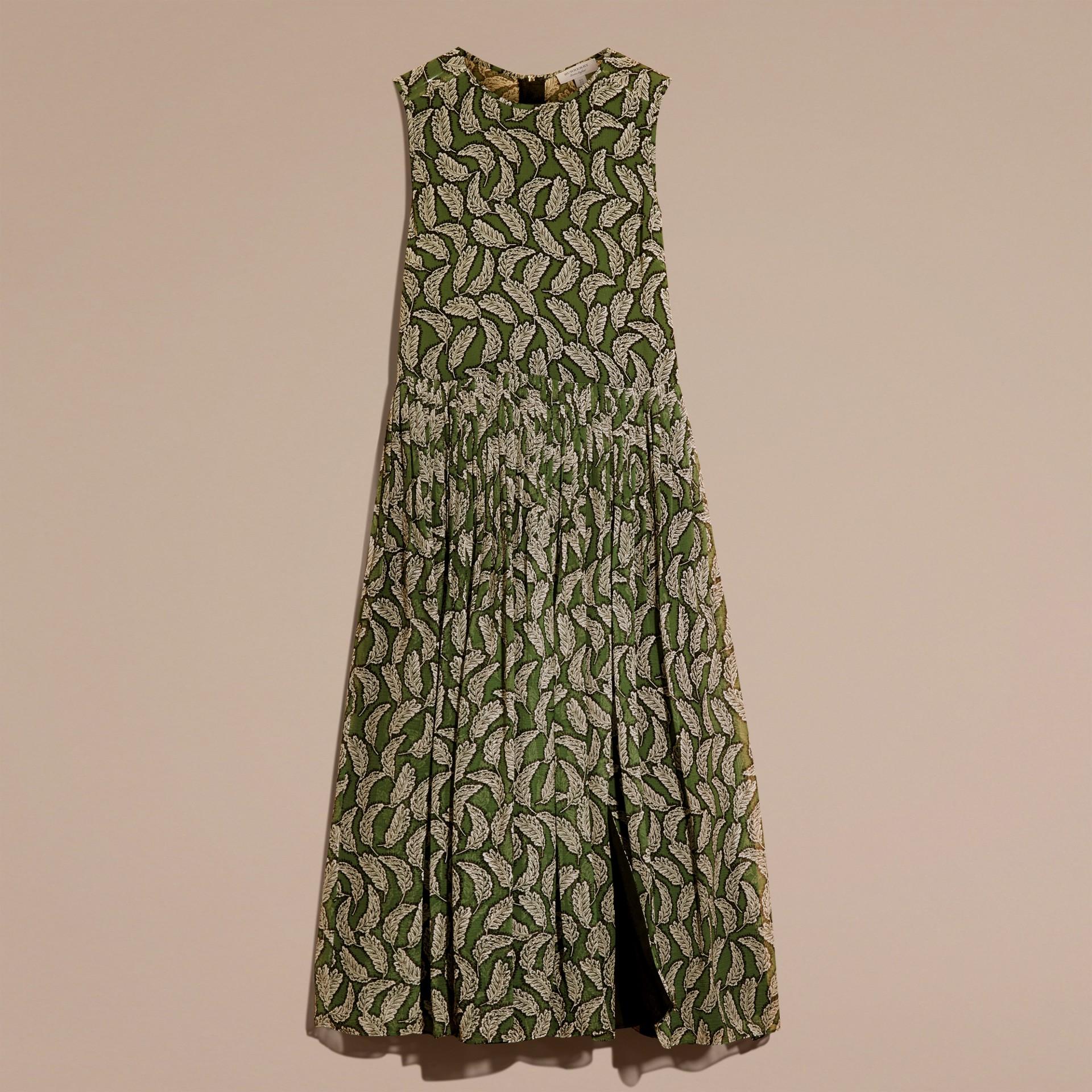 Dusty green Leaf Print Silk Midi Dress - gallery image 4