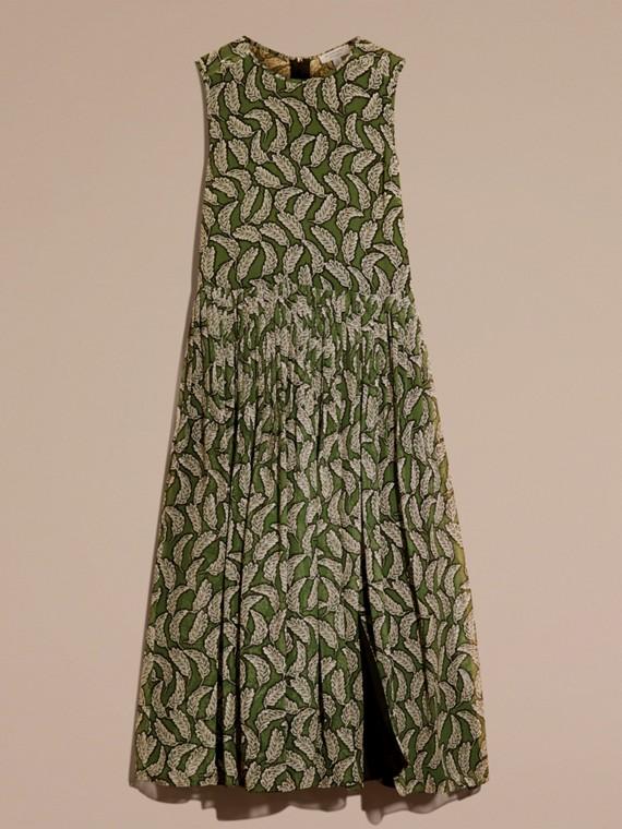 Dusty green Leaf Print Silk Midi Dress - cell image 3