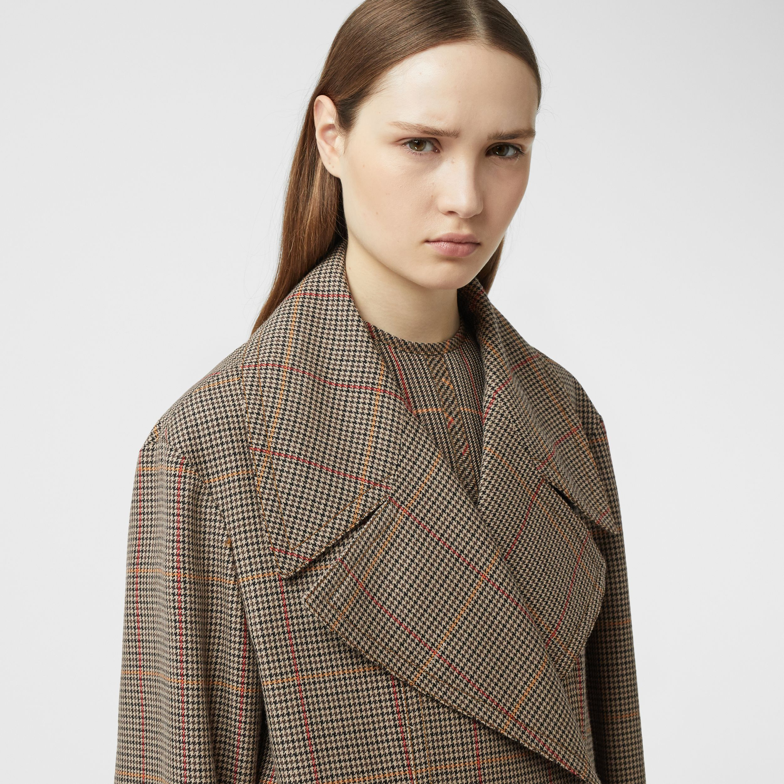 Houndstooth Check Wool Double-breasted Coat in Dark Brown - Women | Burberry - 2