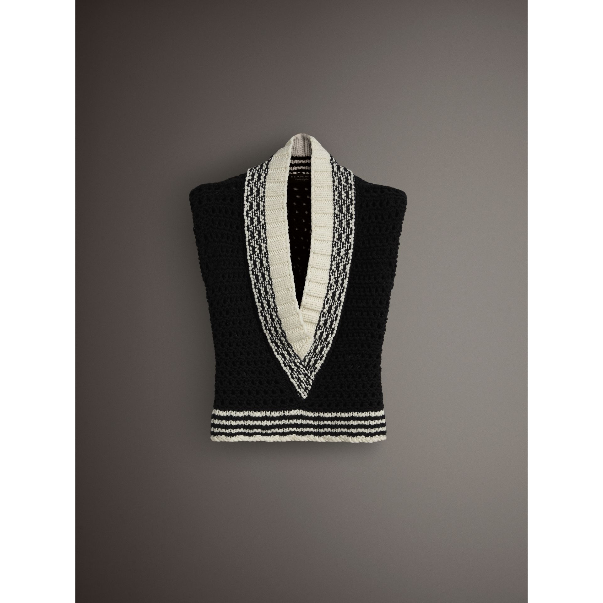 Cap-sleeve Knitted Wool V-neck Tank Top in Black/white - Women | Burberry - gallery image 3